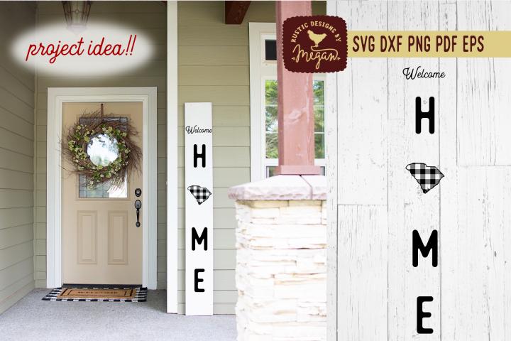 South Carolina Buffalo Plaid State Welcome Home SVG DXF