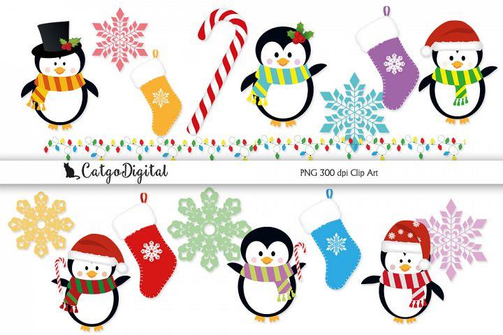 Christmas Penguins PNG Clip Art Kit