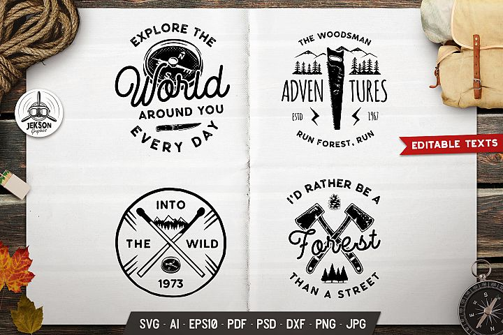 Forest Adventure Logos Set, Retro Camp Badges T-shirt SVG