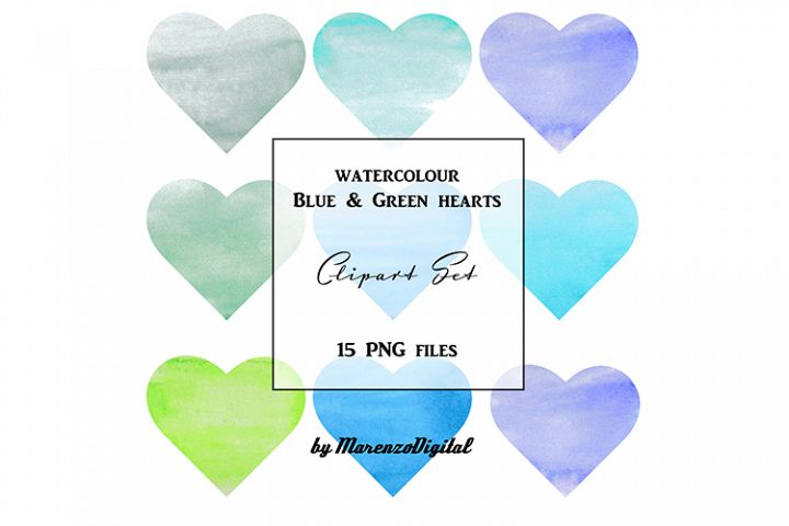 Blue and Green Watercolour Hearts