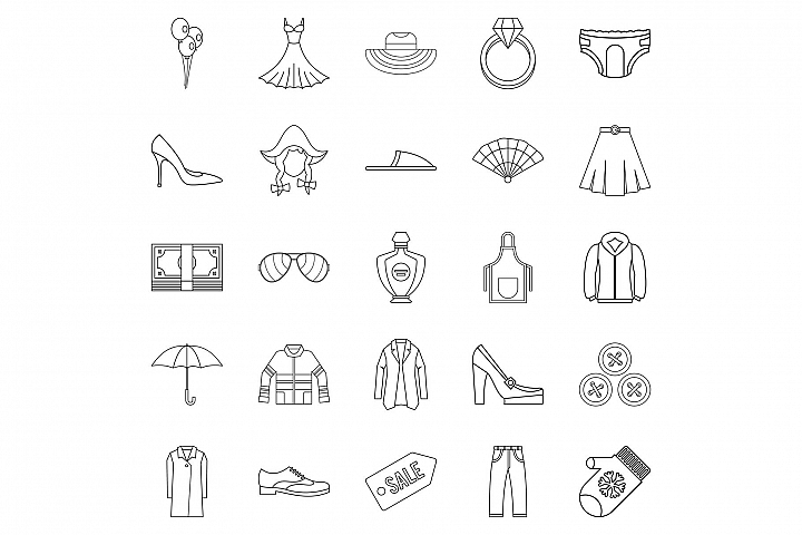 Evening dress icons set, outline style