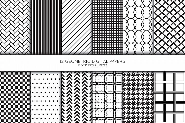 Geometric Digital Paper, Seamless pattern, Scrapbook paper