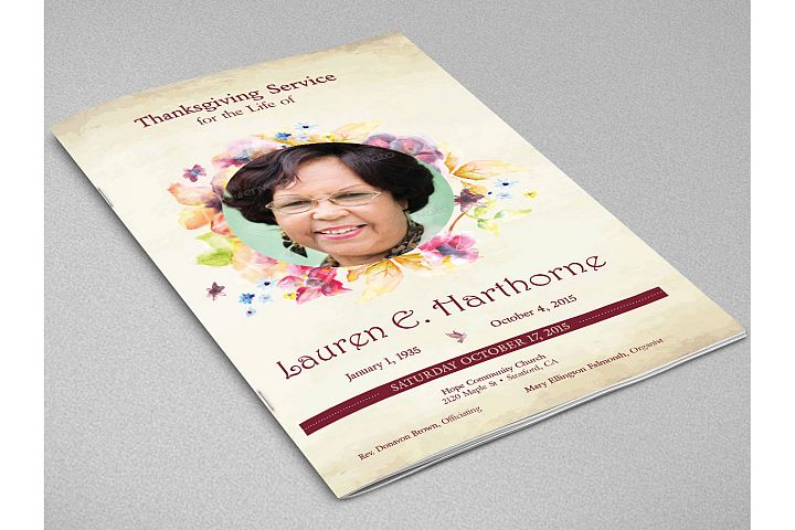Watercolor Funeral Program Indesign Template