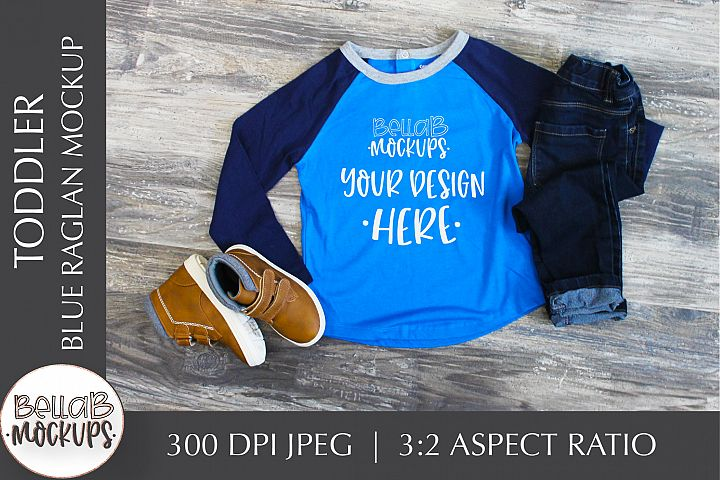 Toddler Shirt Mockup, Youth Boys Blue Raglan Shirt Mockup