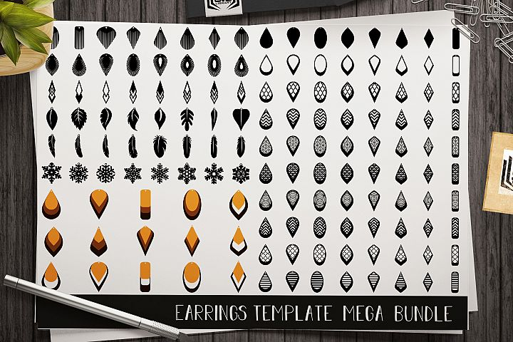 144 Earrings template SVG - Cut files - Leather earrings SVG