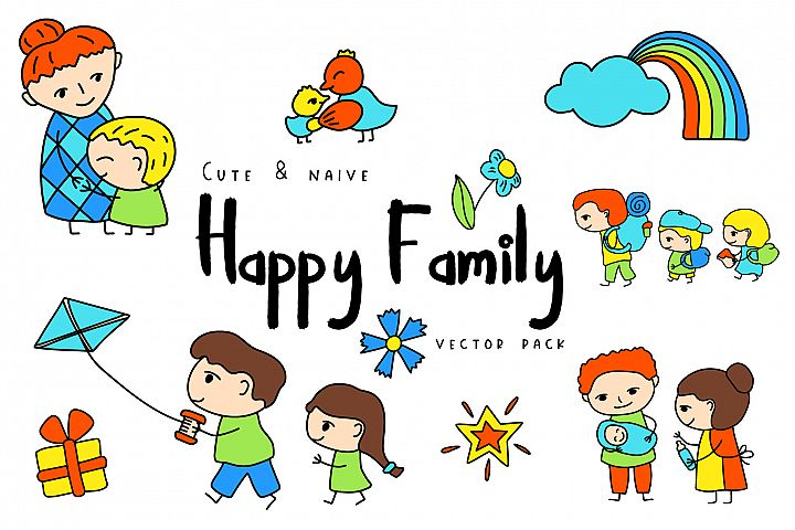 Happy Family Simple Vector Clipart and Patterns