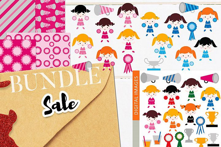 Cheerleaders clip art illustrations bundle