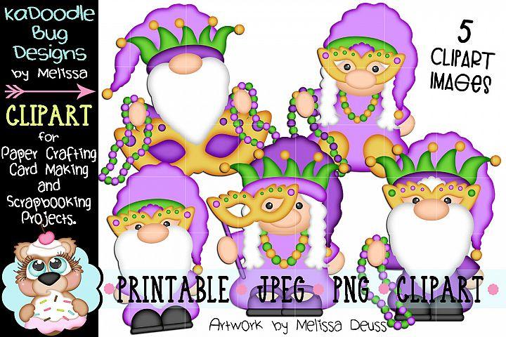 Mardi Gras Gnomes Clipart Bundle - 5 JPEG PNG Print Then Cut