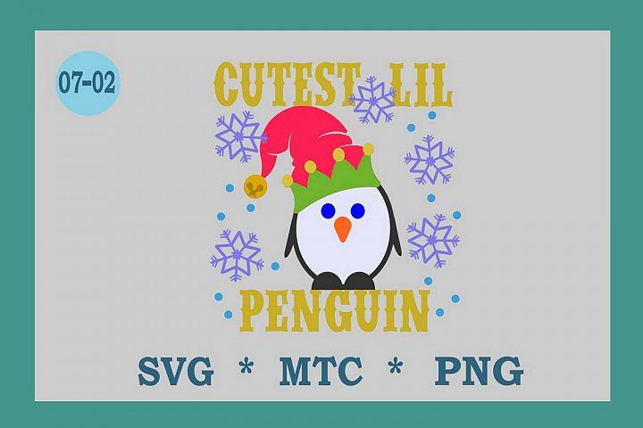 SVG Penguin w/Hat Design 07-02 Winter Digital PNG Cut File