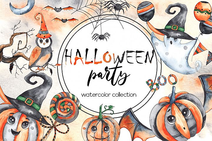 Halloween party. Watercolor collection