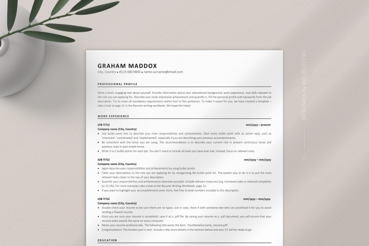Classic ATS-friendly Resume Template, Executive CV Design
