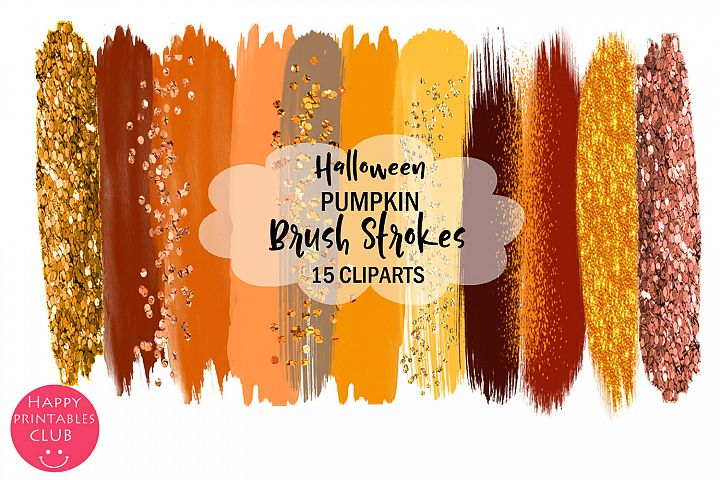 Halloween Pumpkin Brush Strokes Clipart- Brush Strokes
