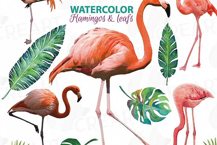 Watercolor Flamingos Clipart with watercolor leafs. 5 flamingos and 7 green leafs, flamingos and leafs collection, greenery, diy invitation