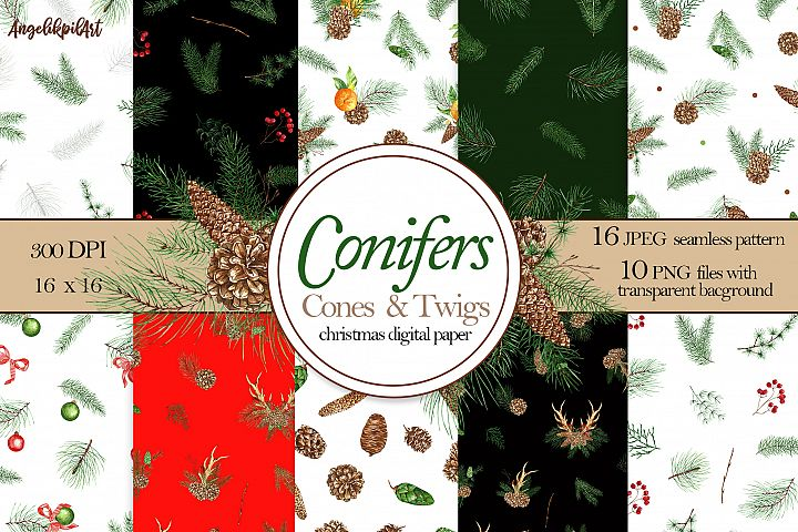 watercolor christmas pattern set. coniferous