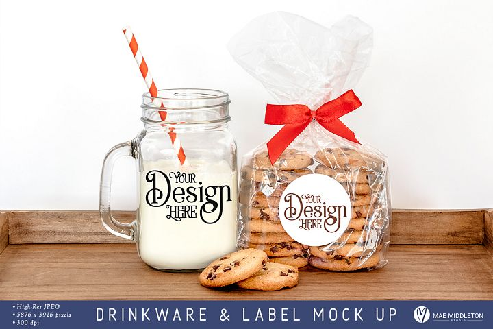 Mason Jar Mug & Round Sticker Label mock up, styled photo