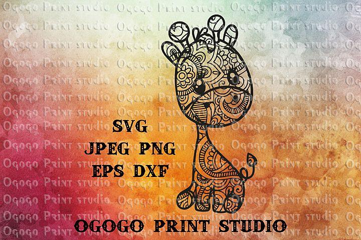 Giraffe SVG, Zentangle SVG, Animal SVG, Mandala svg