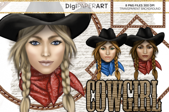 Cowgirl Face PNG, Western Clip Art, Wild West PNG