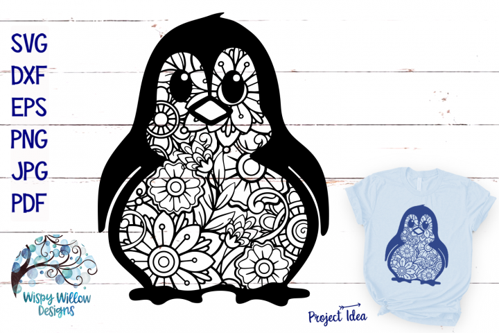 Penguin Zentangle SVG | Animal Mandala SVG Cut File