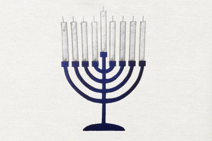 Hanukkah Menorah Applique Embroidery Design