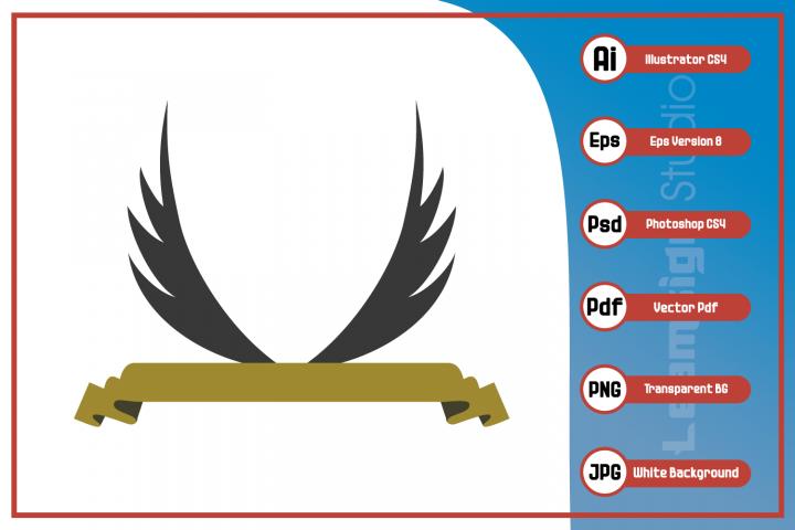 Wings ribbon logo - Vector illustration