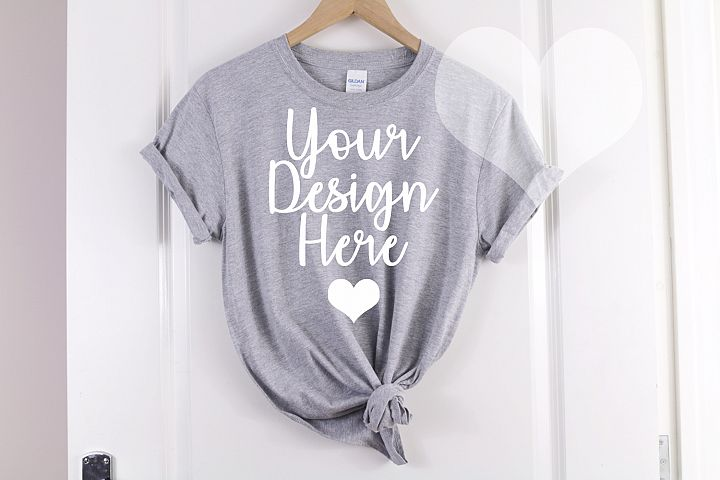 Gildan Mockup 64000 Softstyle Heather Gray Knotted T shirt