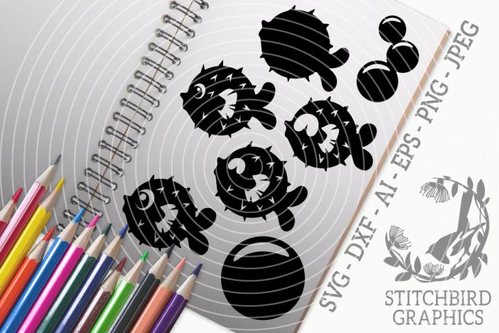 Pufferfish Bundle SVG, Silhouette Studio, Cricut, Eps, Jpeg