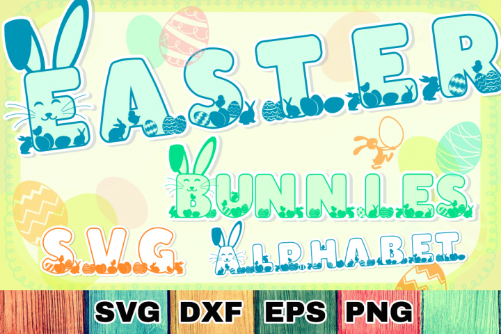 Easter Bunnies SVG Alphabet with A-Z Letters & Numbers