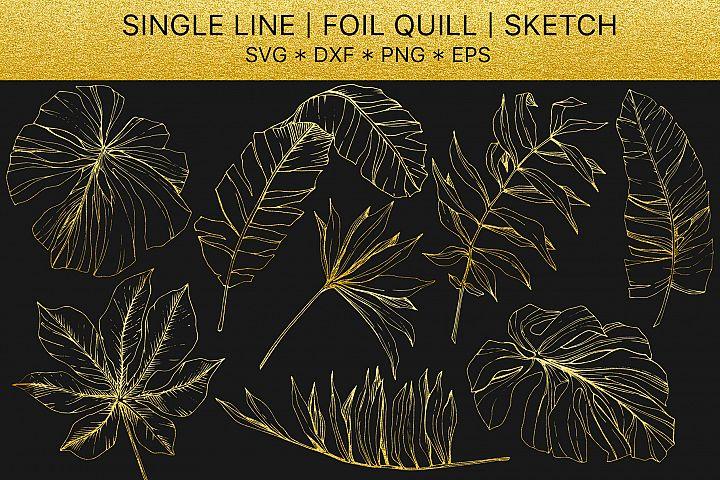 Foil quill svg Tropical golden monogram
