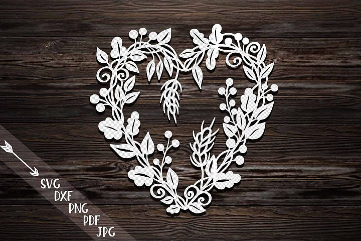 Harvest Thanksgiving heart wreath paper machine cut svg pdf