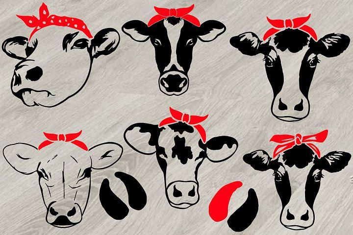Cow Head whit Bandana SVG, cowboy western Farm Milk 779S