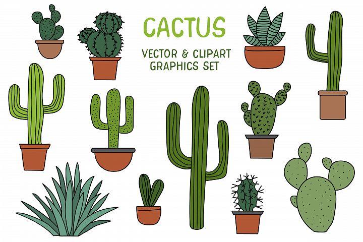 Cactus graphic set