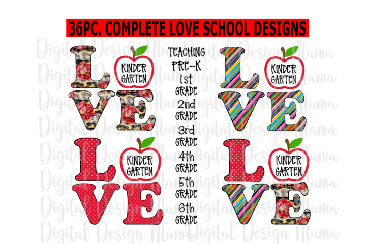 Back to School Clipart PNG Bundle , 36pc Complete Designs