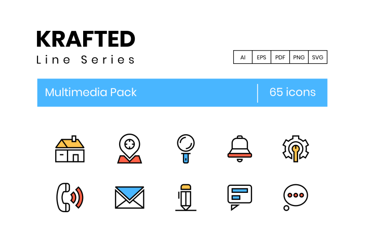Krafted 65 Multimedia Icons