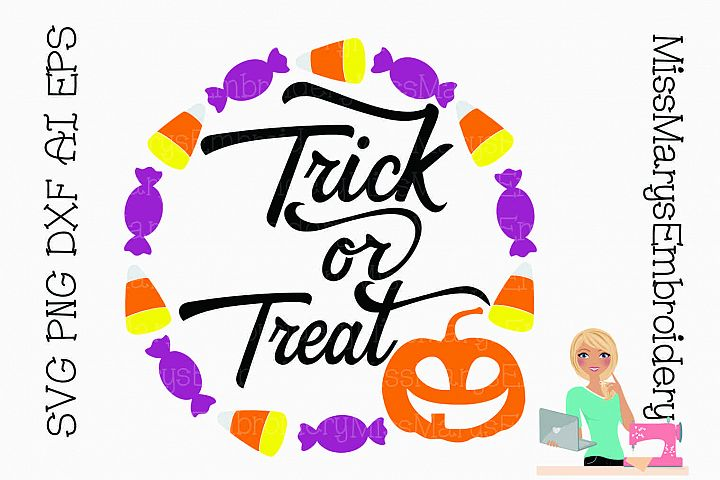 Trick Or Treat Candy Ring SVG Cutting File PNG DXF