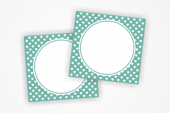 Printable MINT  Tags with small hearts, Label,Heart Card, Heart Tags, Favor Tags, Blank Cards, Party Labels, Instant Download, Favours