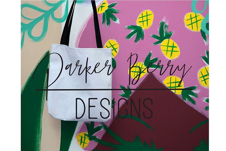 Blank Canvas Tote Bag Mockup Pineapple