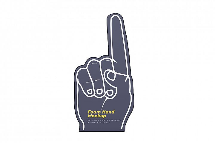 Fabric Sports Fan Foam Hand Mockup