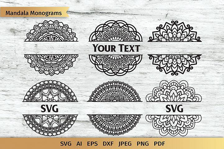 Split Mandala SVG | Name Monogram | Cut File