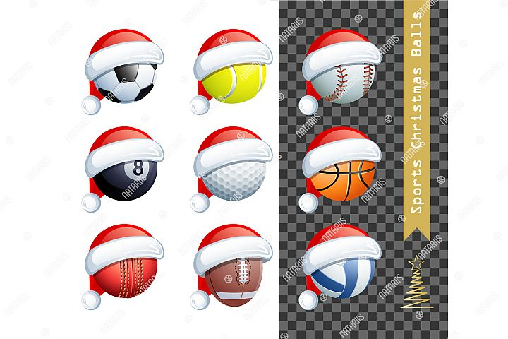Collection of 9 sports balls with a Santa Claus hat.