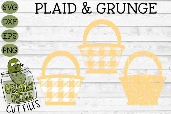 Plaid & Grunge Easter Flower Basket svg