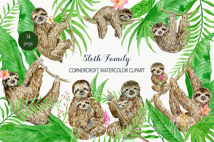 Watercolor clipart sloth family for instant download