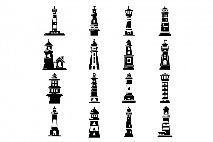 Lighthouse icons set, simple style