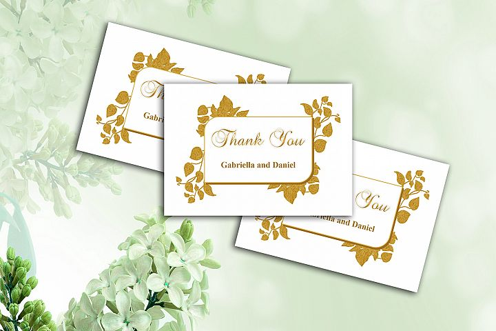Gold Thank You Card Template, instan download, DAD_09