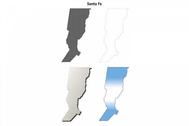 Santa Fe blank outline map set