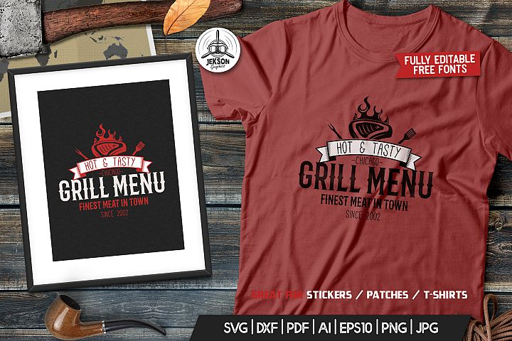 Grill BBQ Logo Design for TShirt Retro Vector SVG Cut File