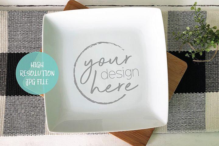 Square White Plate Mockup | Buffalo Plaid