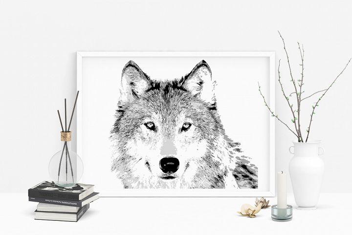 Hand drawn wild Wolf