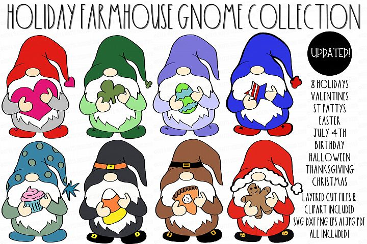 Farmhouse Holiday Gnome Collection SVG DXF & Clipart Set