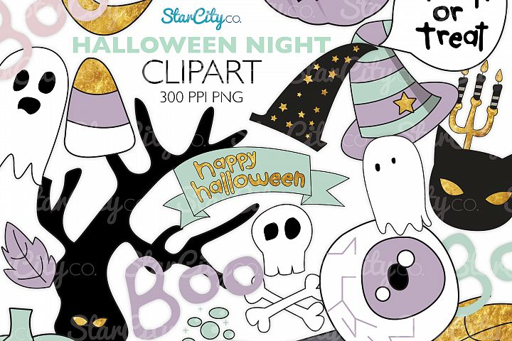 Hand Drawn Halloween Clipart in Pastel Colors
