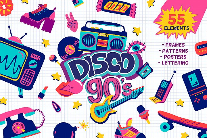 90s retro vector cartoon clipart